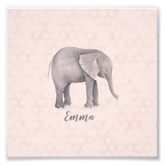 Impression Photo Fille d'éléphant avec l'arrière - plan géométrique
