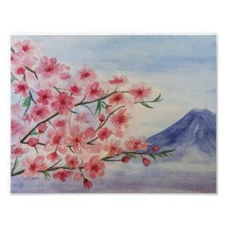 Impression Photo Fleur d'arbre de Sakura et montagne de Fuji