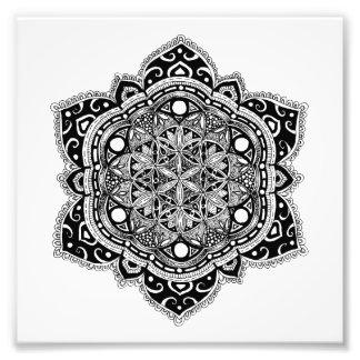 Impression Photo Fleur noire de mandala de la vie