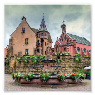 Impression Photo Fontaine de Saint-Léon dans Eguisheim, Alsace,