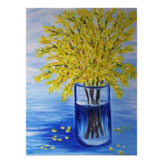 Impression Photo Forsythia dans un vase bleu