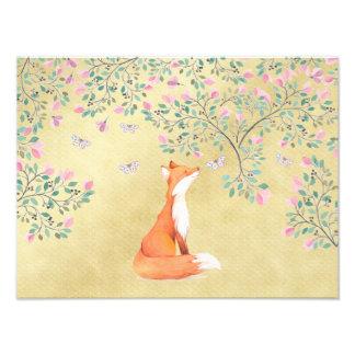 Impression Photo Fox avec des papillons et des fleurs roses