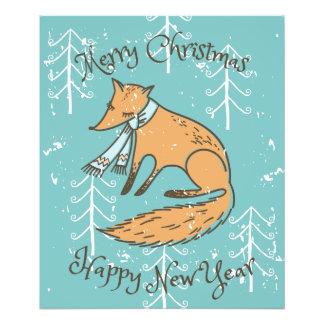 Impression Photo Fox de vacances de Joyeux Noël confortable