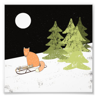 Impression Photo Hiver Sledding Fox - illustration