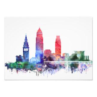 Impression Photo Horizon de Cleveland d'aquarelle