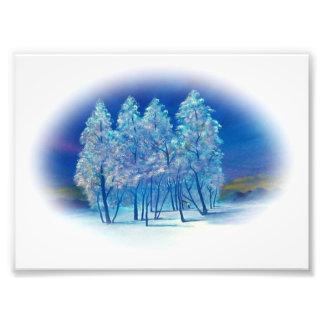 Impression Photo Illustration abstraite de forêt de sapins d'hiver
