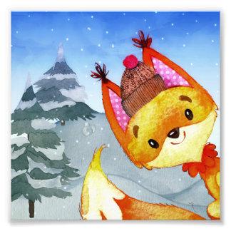 Impression Photo Illustration de Fox d'amis de région boisée de