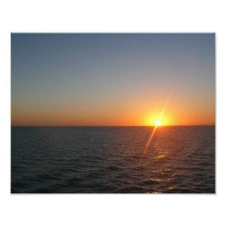 Impression Photo Lever de soleil au paysage marin d'horizon d'océan