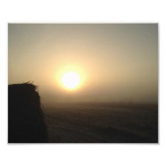 Impression Photo Lever de soleil givré brumeux