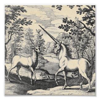 Impression Photo Licorne mythique dans la forêt