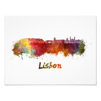 Impression Photo Lisbonne V2 skyline in watercolor