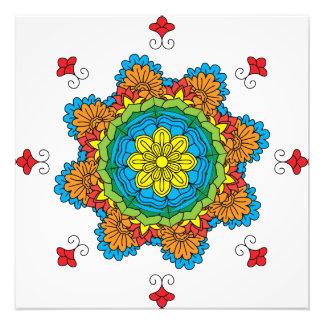 Impression Photo Mandala de fleur. Éléments décoratifs vintages.