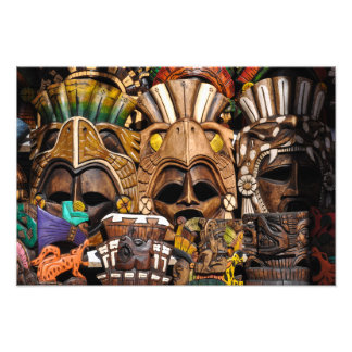 Impression Photo Masques en bois maya au Mexique