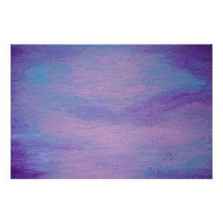Impression Photo Nuage rose bleu assez pourpre frivole du résumé |