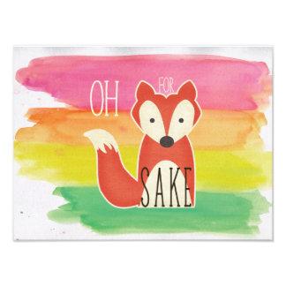Impression Photo Oh pour des rayures d'aquarelle de saké de Fox