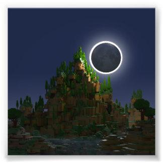 Impression Photo Ombre du bas poly art de Voxel de lune