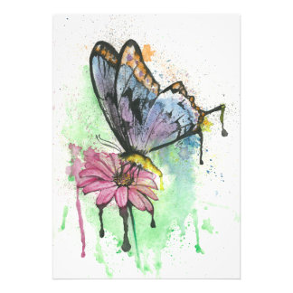 Impression Photo Papillon pour aquarelle sur la fleur, copie de
