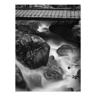 Impression Photo Pont en bois et eau mobile dans la forêt