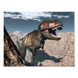 Impression Photo Rex de Tyrannosaurus hurlant dans un canyon