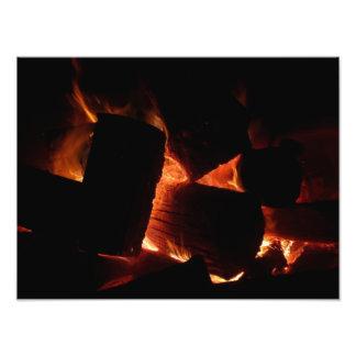 Impression Photo Rondins brûlants d'hiver de mine du feu