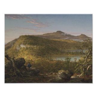 Impression Photo Thomas Cole - une vue des deux lacs et montagnes