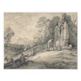 Impression Photo Thomas Gainsborough - paysage boisé avec le paysan