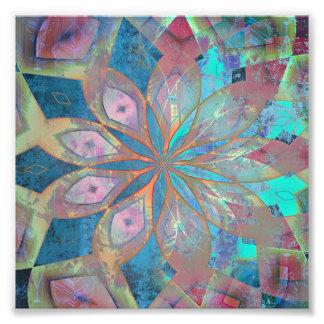 Impression Photo Tuile abstraite de mandala de rose et de bleu