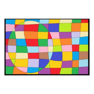 Impression Photo Un cercle coloré sur le rectangle coloré