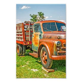 Impression Photo Vieux double - camion - - cru - coloré rouillé