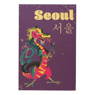 Impression Sur Bois Affiche sud-coréenne de voyage de Séoul