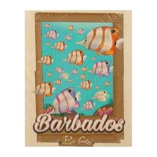 Impression Sur Bois Affiche tropicale de voyage de poissons des
