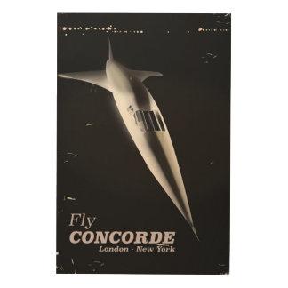 Impression Sur Bois Affiche vintage de voyage de style de Concorde de
