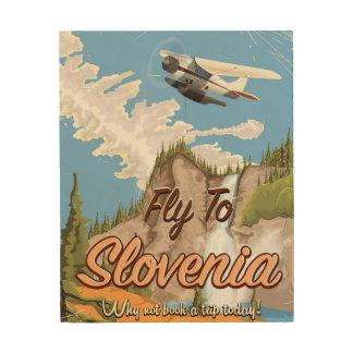Impression Sur Bois Affiche vintage de voyage de style de la Slovénie