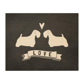 Impression Sur Bois Amour de silhouettes de Sealyham Terrier