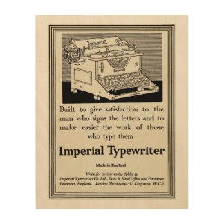 Impression Sur Bois Annonce vintage de machine à écrire à partir de