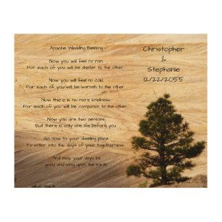 Impression Sur Bois Apache épousant bénissant la pierre et l'arbre