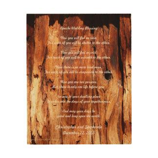 Impression Sur Bois Apache épousant bénissant l'art en bois patiné de