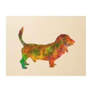 Impression Sur Bois Basset Hound 01 in watercolor 2