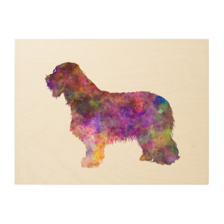 Impression Sur Bois Bearded collie in watercolor
