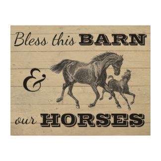 """Impression Sur Bois Bénissez cette grange et nos chevaux 14"""" x11 """""""
