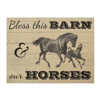 """Impression Sur Bois Bénissez cette grange et nos chevaux 24"""" x18 """""""