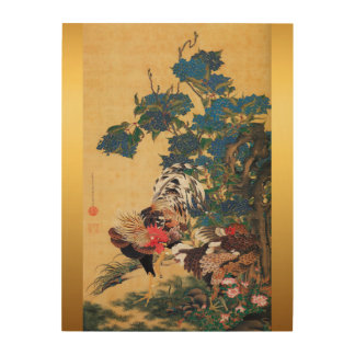 Impression Sur Bois Bois japonais de la nouvelle année 2017 de coq de