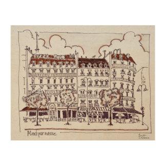 Impression Sur Bois Boulevard typique Montparnasse, Paris de Haussmann