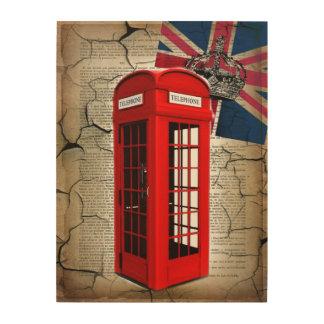 Impression Sur Bois cabine téléphonique rouge de couronne de jubilé de