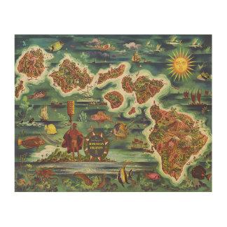 Impression Sur Bois Carte 1950 de Dole de peinture à l'huile d'Hawaï