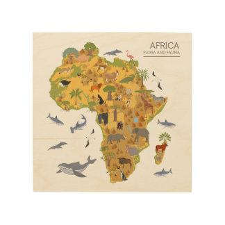 Impression Sur Bois Carte de l'Afrique | Flora et faune