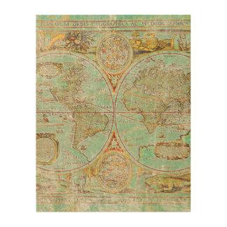 Impression Sur Bois Carte de Vieux Monde