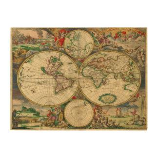 Impression Sur Bois Carte de Vieux Monde vintage