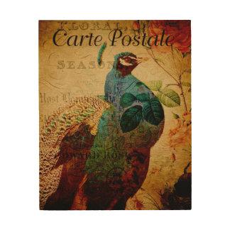 Impression Sur Bois Carte postale vintage de paon
