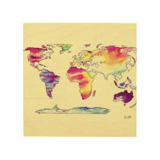 Impression Sur Bois Carte pour aquarelle en bois de monde